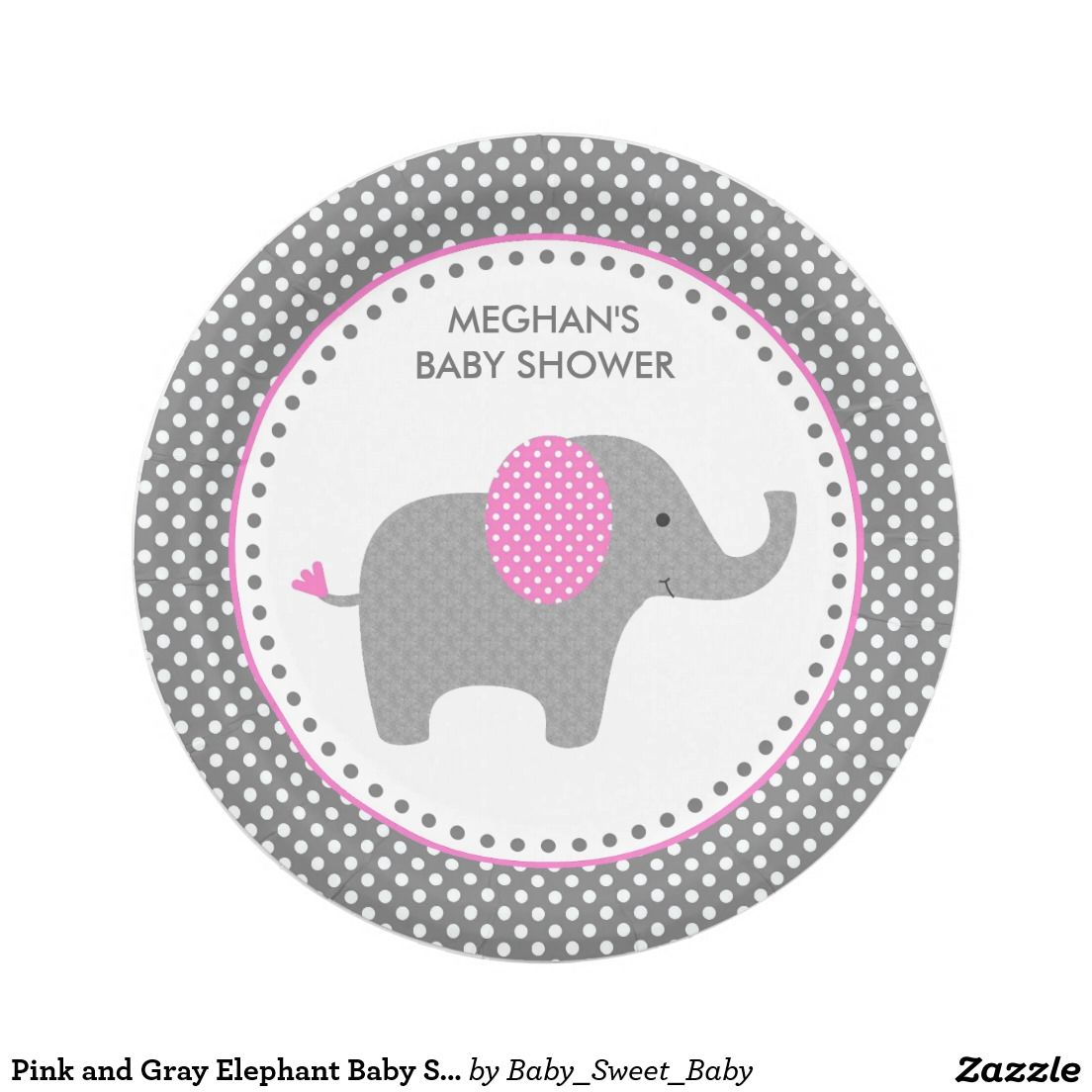 Pink and Gray Elephant Baby Shower Paper Plates  sc 1 st  Pinterest & Pink and Gray Elephant Baby Shower Paper Plates | Grey elephant ...