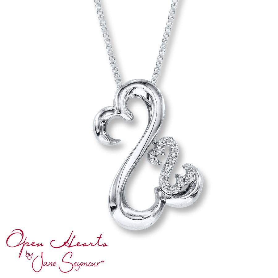 Open Hearts Necklace Diamond Accents Sterling Silver I like