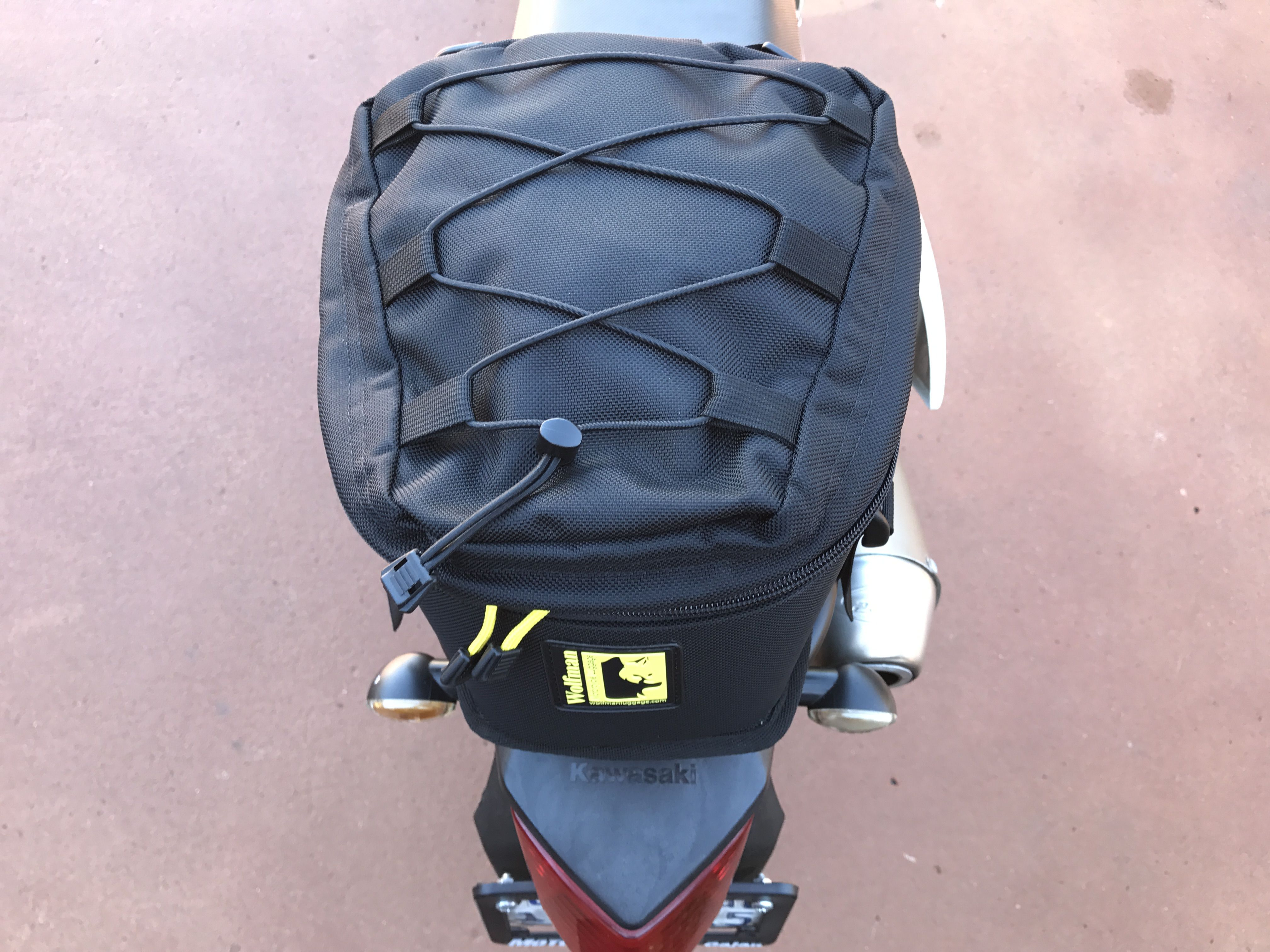 Enduro Series Rear Rack For The Klx250s Shown With Wolfman Peak Tail Bag