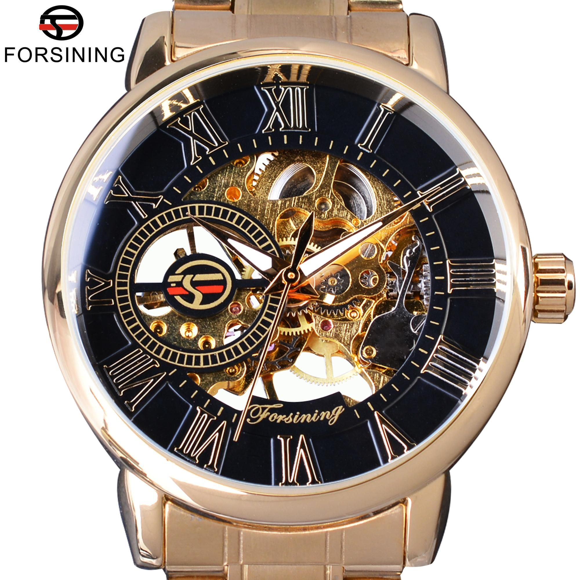 Forsining Fashion Wearing Retro Design Mechanical Skeleton Watch Steampunk  Design Transparent Mens Watch Top Brand Luxury Clock 9797916a317