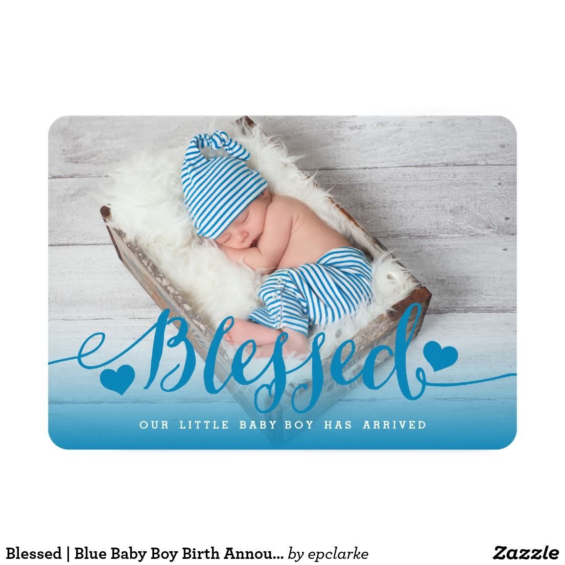 Blessed Blue Baby Boy Birth Announcement Boy Birth Announcements