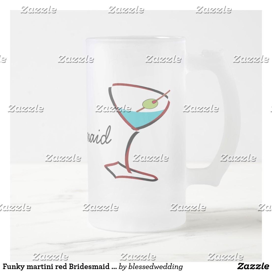 Funky martini red Bridesmaid Favors Frosted Glass Beer Mug ...