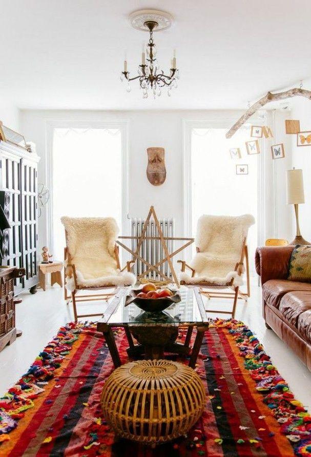 Interieur Deco Style Boheme Salon Blanc Tapis Inspiration