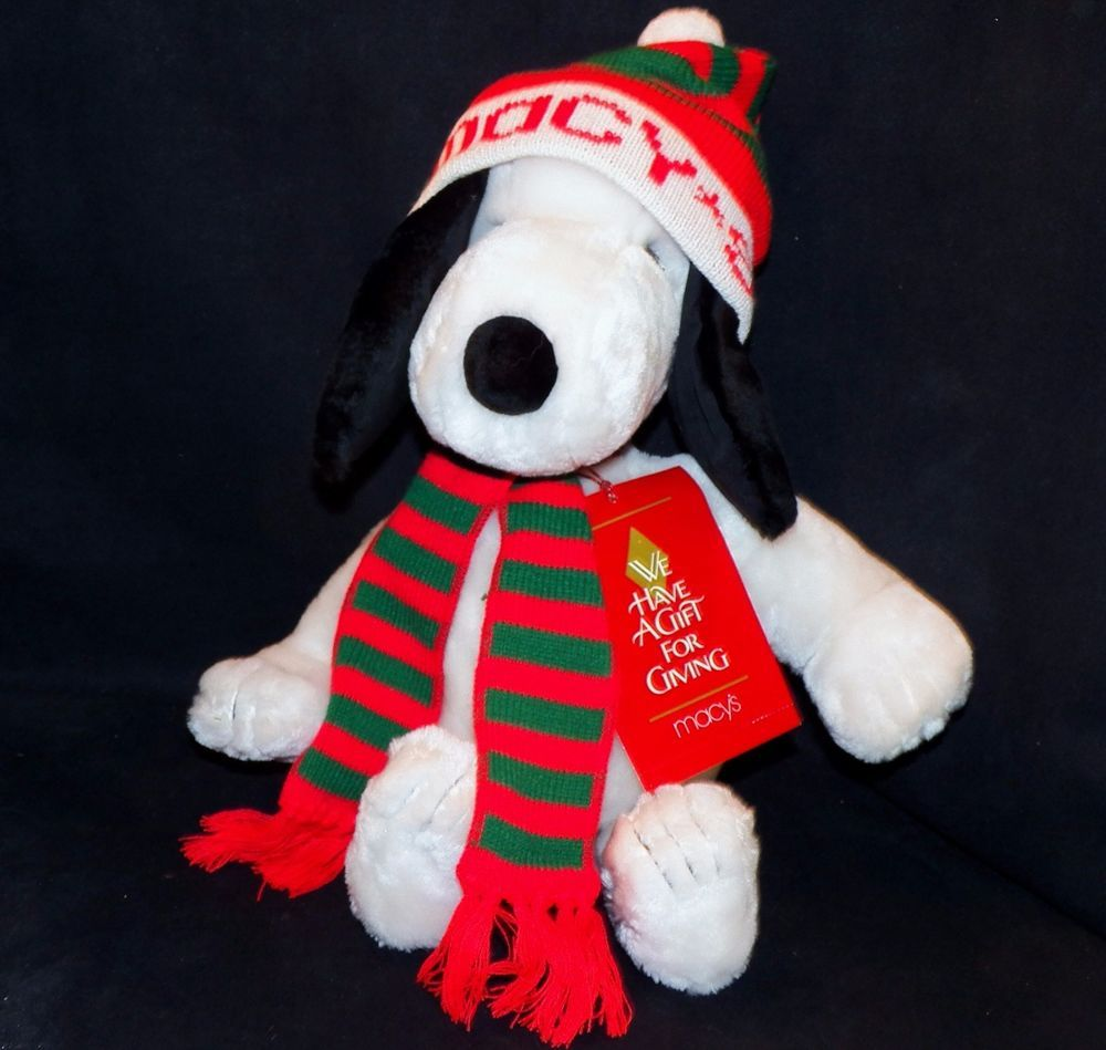 Vintage Peanuts Snoopy Macy S Christmas Plush Scarf Hat Stuffed