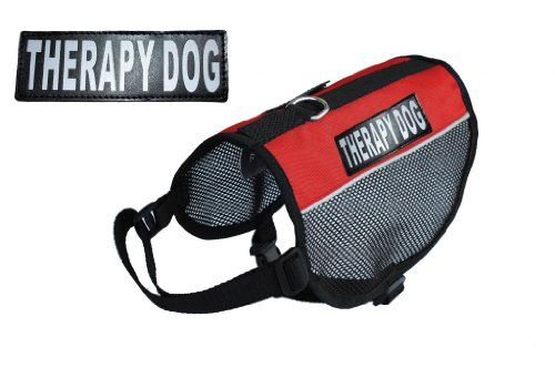 Therapy Service Dog mesh vest Harness Cool Comfort Nylon for dogs Small Medium Large Purchase comes with 2 reflective THERAPY DOG pathces PLEASE MEASURE your dog before ordering ** You can find more details by visiting the image link.Note:It is affiliate link to Amazon.