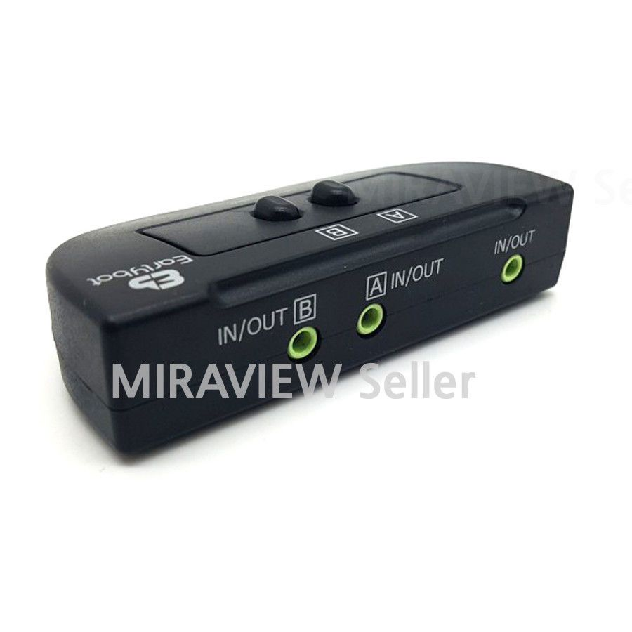2PORT 3.5mm High Quality STEREO Manual Switch Box AUX Audio Speaker selector
