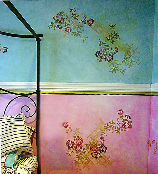 Bohemian Paint Colors: Stenciling On Color Washed Walls Or Canvases: A Great Look