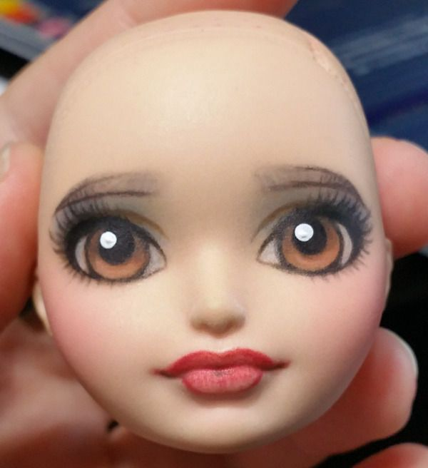 RytheaCrafts — Finished face minus gloss for lips. Went for the... #dollfacepainting