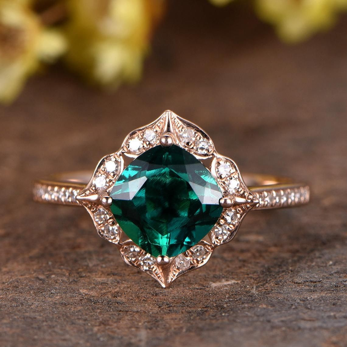 Unique Emerald Engagement Ring Rose Gold Vintage Floral