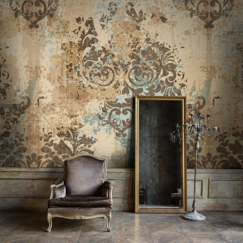 Baroque Style Damask Removable Wallpaper Brown Yellow Vintage Mural Retro Self Adhesive Decor Concrete Peel And Stick Paper Damask Removable Wallpaper Removable Wallpaper Damask Wall