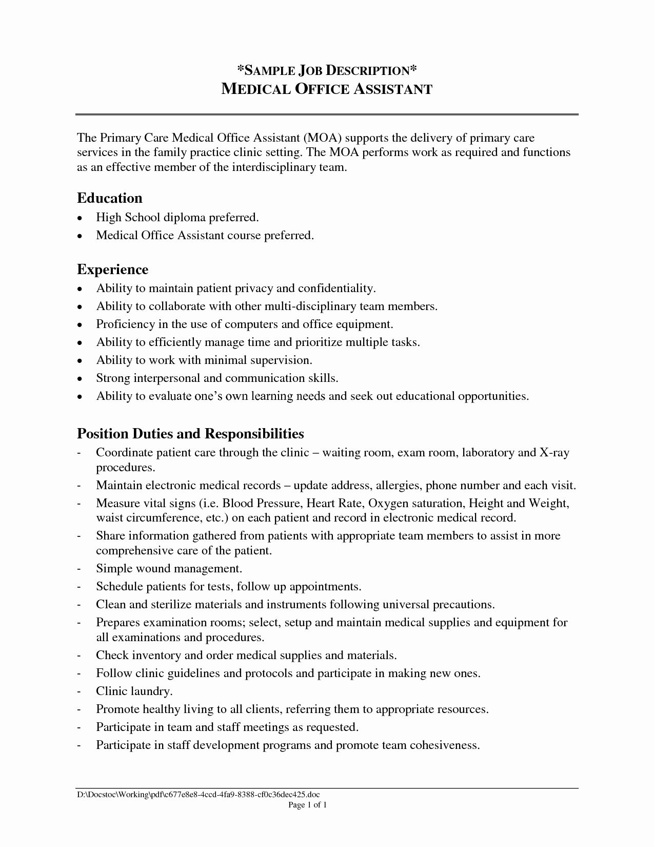 23 Medical Office Assistant Job Description Resume In 2020 With