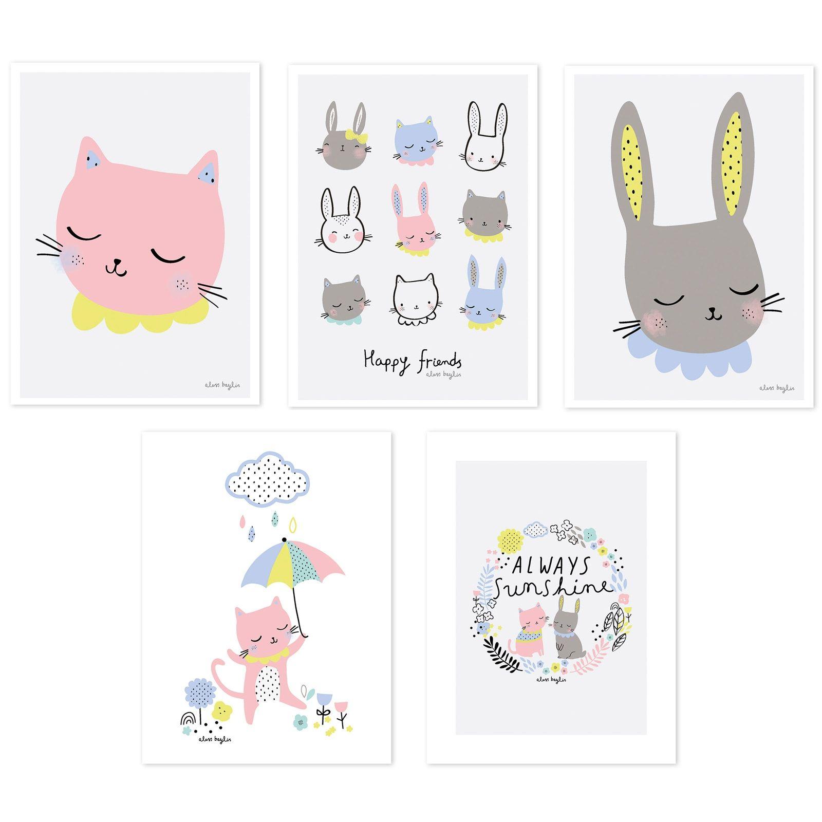 Ce lot de 5 posters Happy clouds by Aless Baylis pour Lilipinso