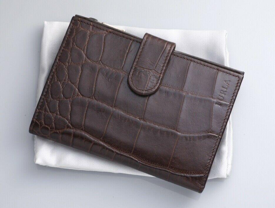 Ebay Ad H6173m Authentic Furla Crocodile Embossed Leather Bifold Wallet Leather Bifold Wallet Embossed Leather Leather