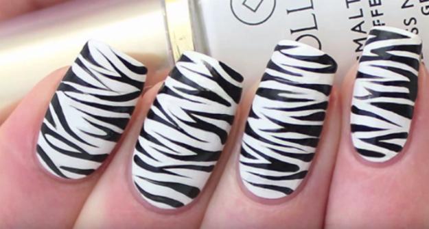 Zebra Nails Easy Zebra Print Nail Art Tutorial