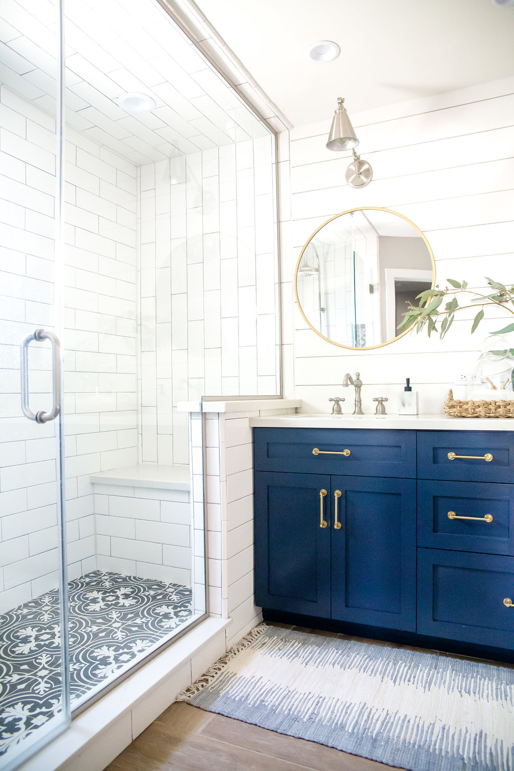 Shiplap And Long Subway Tile With Wood Floor And Navy Vanity Love The Look Cottage Bathroom Decor White Subway Tile Shower Bathroom Trends