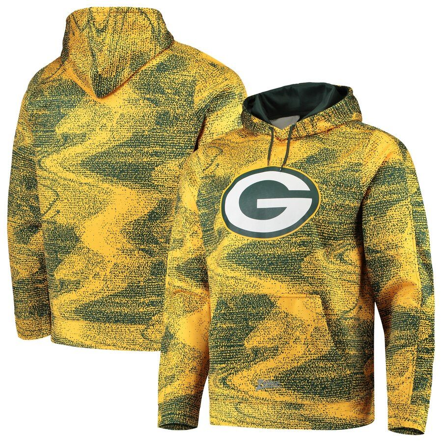 Size Small Green Bay Packers Zubaz Static Pullover Hoodie Green Gold Capuchas