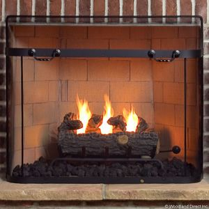 Twist Handled Black Spark Guard Screen 31 X 37 Fireplace