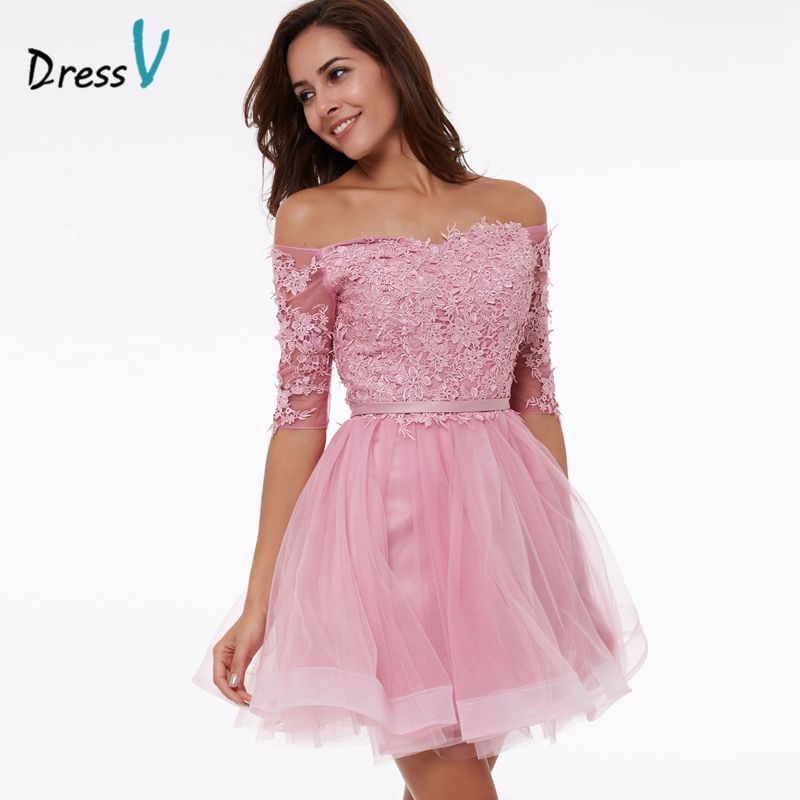 Dressv peach A-line homecoming dress off the shoulder appliques half ...