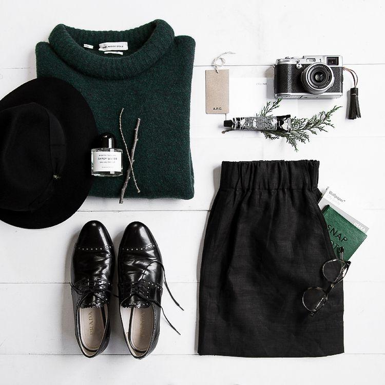 Outfit du jour:   Isabel Marant sweater   Borsalino Fedora   Prada Oxford   Fujifilm x100   Grown Alchemist Lip Balm   Gillian Tennant Skirt   Oscar Wylee Specs  