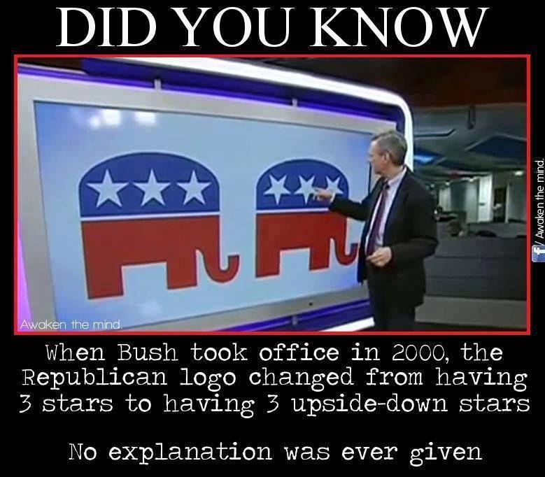 Republican Elephant Logo Stars Upside Down