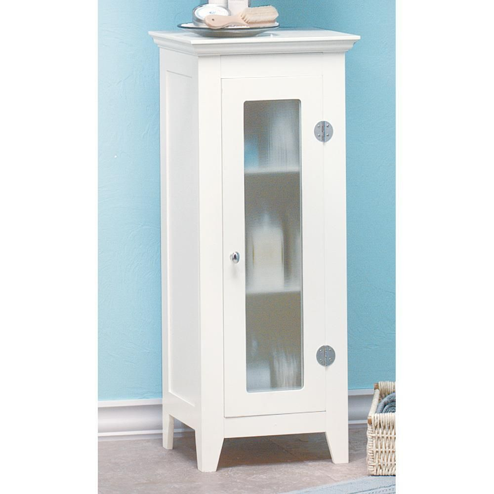 Bathroom Floor Cabinet-White Wood Frosted Glass Door | Frosted glass ...