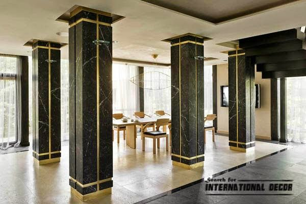 Decorative columns stylish element in modern interior for Architectural wood columns