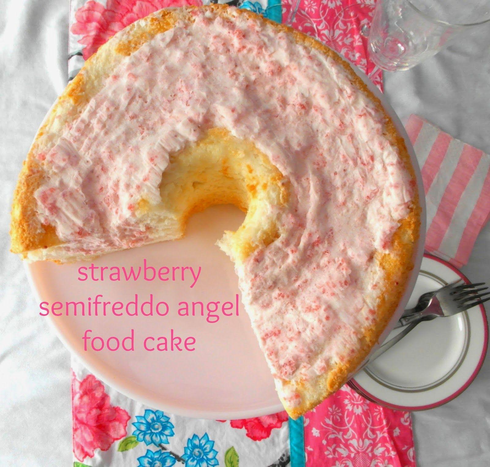 strawberry semifreddo angel food cake