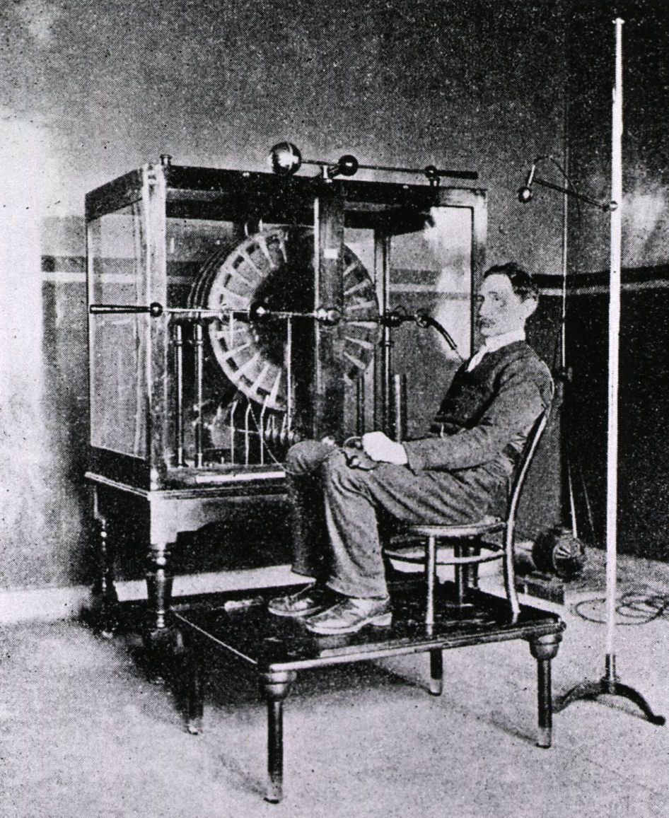 This 'electric breeze' machine was used in British hospitals like this London one around 1905. It was thought beneficial to generate an electrostatic charge and deliver the electricity to a patient.