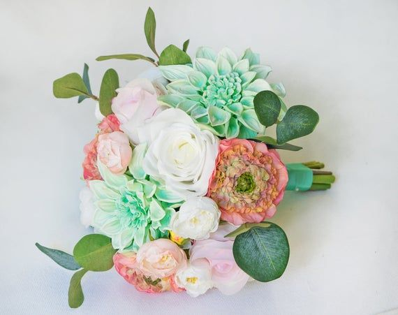 Coral Wedding Bouquet, Peach Bouquet, Rustic Bouquet, Eucalyptus Bouquet, Peony Bouquet, Bride Bouqu #turquoisecoralweddings