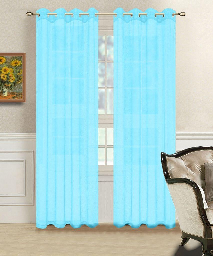 Warm home designs pair of aqua blue voile sheer window curtains