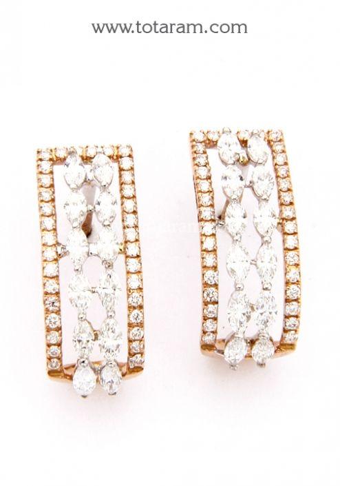 Diamond Earrings for Women in 18K Rose Gold Polish Totaram Jewelers