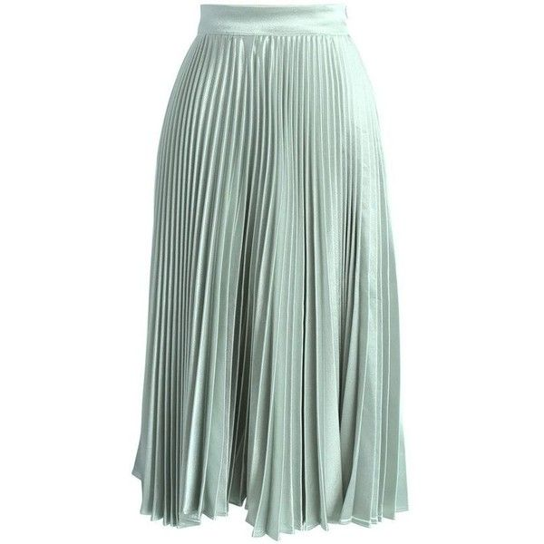 f18216f07c Sweetest Sheen Pleated Midi Skirt in Mint ❤ liked on Polyvore featuring  skirts, mint pleated skirt, pleated midi skirts, mint green pleated skirt,  ...