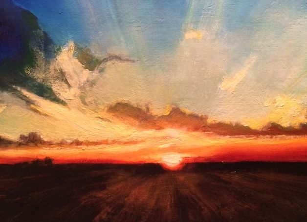 Beautiful sunset I was able to capture a glimpse of in this small painting.  Oil on linen