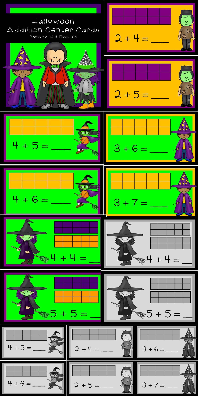 Addition Facts Center Cards - Halloween Theme | Ten frames, Maths ...