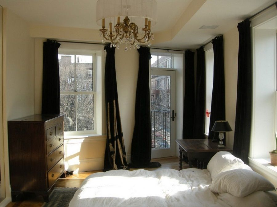 Curtains For The Bedroom With Dark Green Color