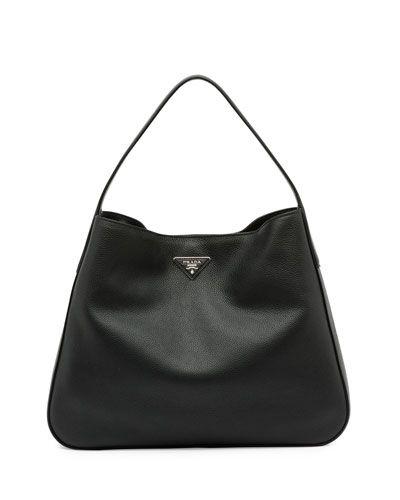 b8cbd8793208 L0MTE Prada Vitello Daino Medium Wide-Strap Hobo Bag, Black (Nero ...
