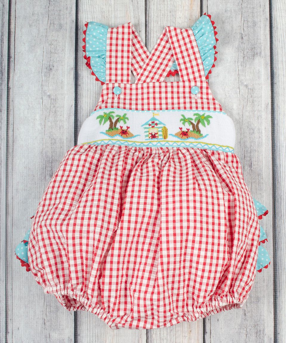 c42ab5c6f Look at this #zulilyfind! Stellybelly Red Plaid Crab Smocked Ruffle Bubble  Romper - Infant