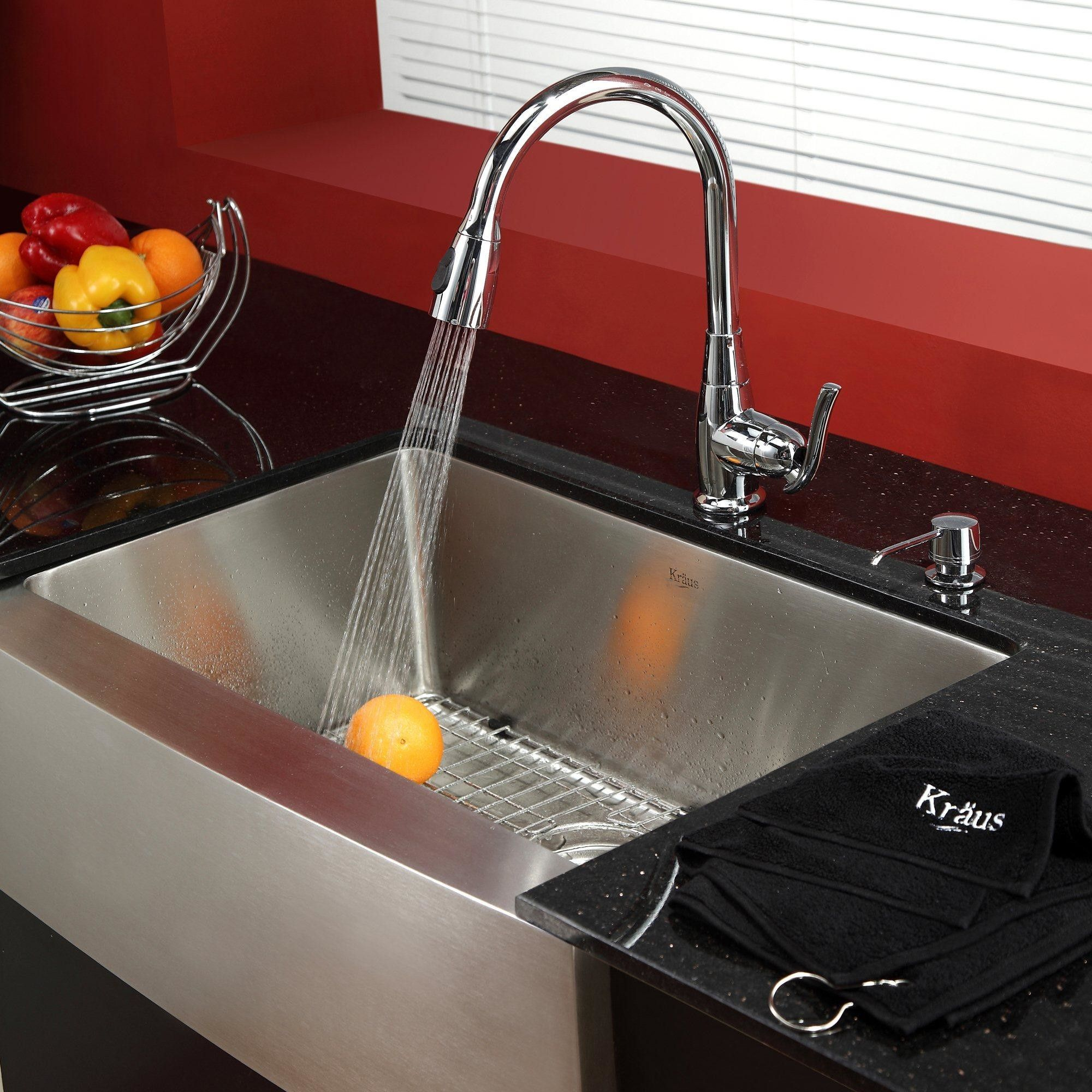 "29.75"" L x 20"" W Farmhouse Kitchen Sink with Faucet and"