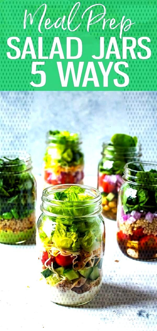 5 Mix and Match Mason Jar Salad Recipes for Easy Lunches!  - meal prep -