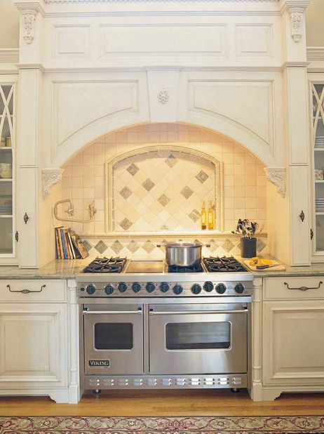 High End Kitchen With Alcove Over Stove