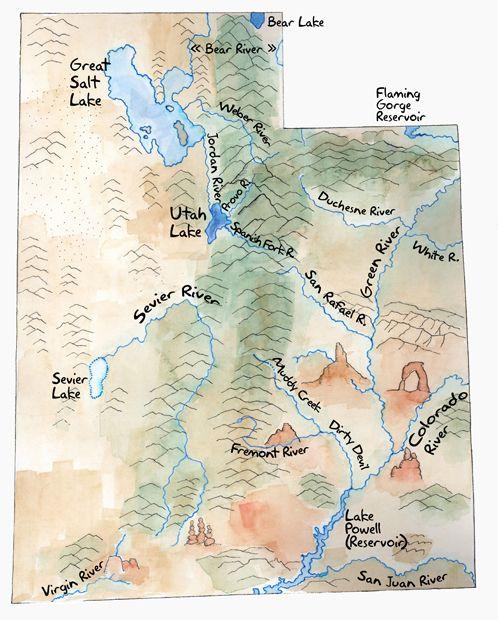 Map Of Lakes And Rivers In Utah Utah Map Landforms Utah
