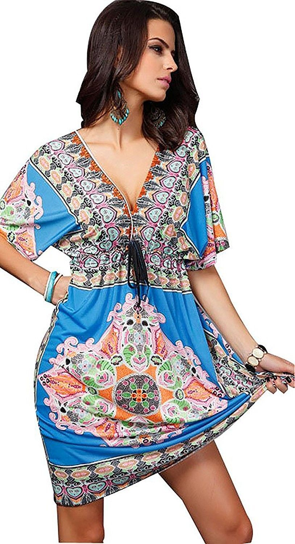 72a0ca5b334d3 Women s Sexy V-Neck Dress Half-Sleeve Beach Holiday Dress Cover Up ...