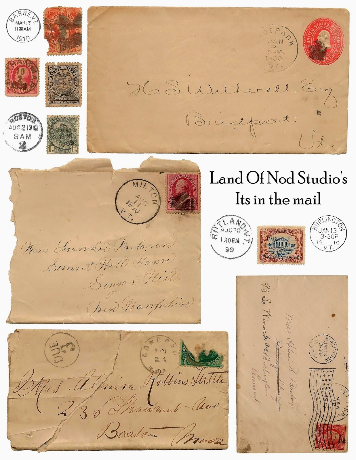 Free Antique Envelope  Postage Stamp Printables  From Land Of