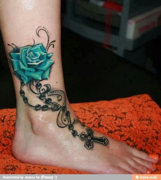 Beautiful Tattoo D Blue Rose With Necklaces And Cross I Love It Ankle Tattoo Designs Tattoo Designs For Girls Best Tattoos For Women