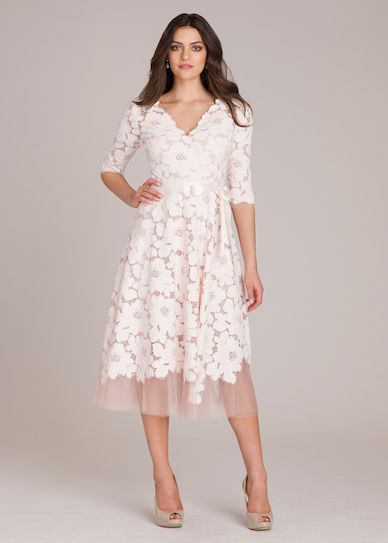 3 4 Sleeve Lace And Tulle Fit And Flare Dress Tulle Dress Tea Length Dresses Blush Dresses