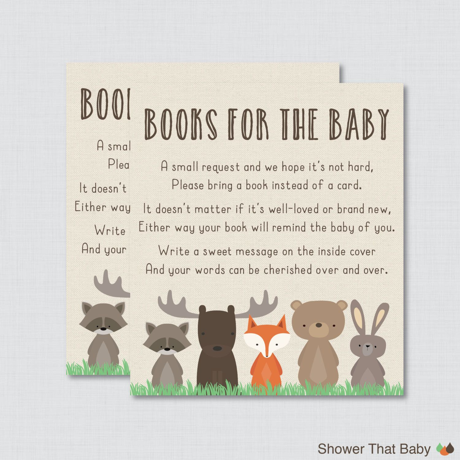 Awesome In Lieu Of A Card Bring A Book Baby Shower Part - 9: Printable Woodland Baby Shower Bring A Book Instead Of A Card Invitation  Inserts Help Build The New Babys Library By Requesting That The Shower