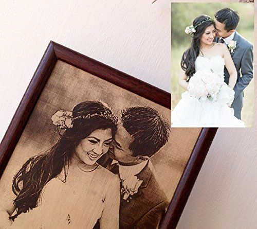 Leather Wedding Anniversary Gift Ideas: Engraved Photograph On Real Leather, 3rd Wedding