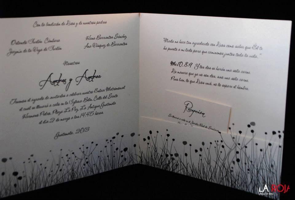 Interior, invitación de boda.
