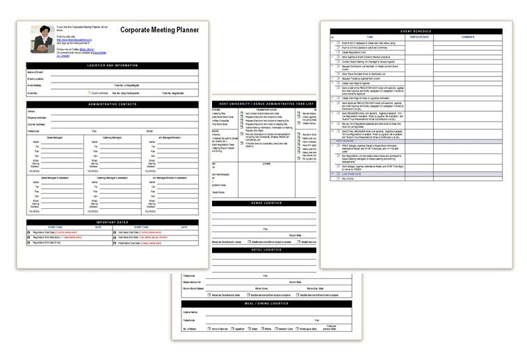 Corporate Meeting Planner  Office Templates    Meeting
