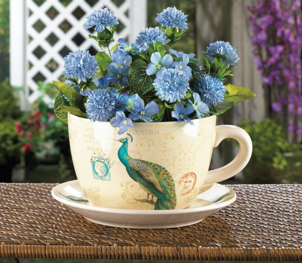 Charming Peacock Teacup Planter With Dish Flowers Herbs Planter Pot Set New Homelocomotion
